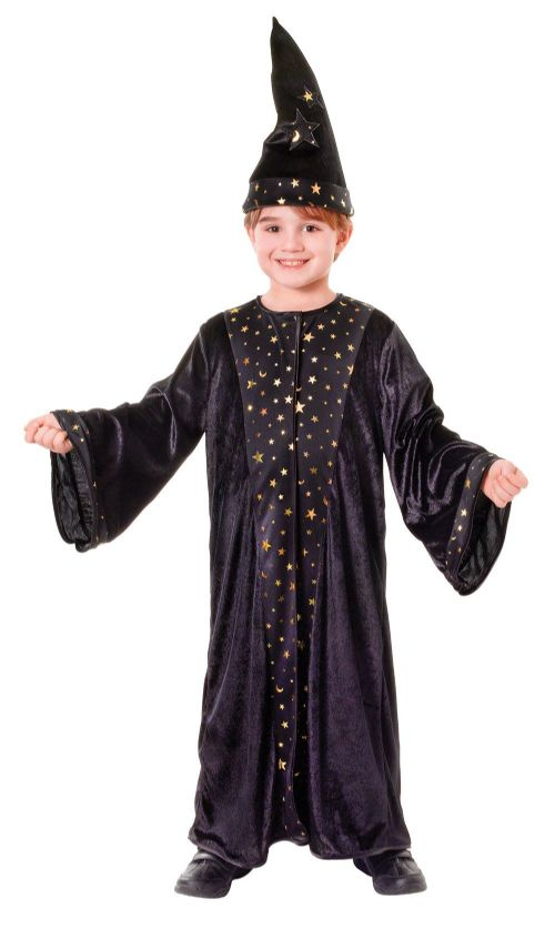 Childs Wizard Deluxe Costume Magician Magic Witch Halloween Fancy Dress Outfit